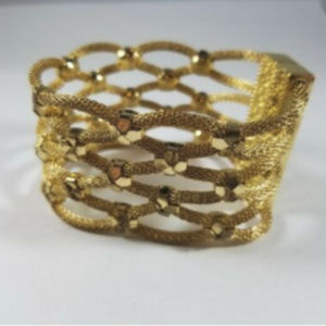 Gold Tone Rope Chain Weaved Bracelet Magnetic